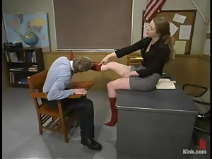 Princess Kalit the hot teacher punishes her student in a clasroom
