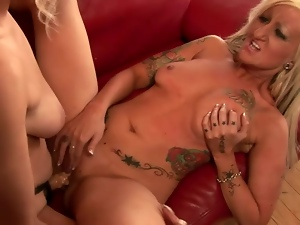 Juicy blond matures are going lesbian with a strapon