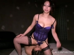 Smoking hot Asian chick sits on her man's face