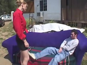Blonde milf Nicole Moore gets banged doggy style in the yard