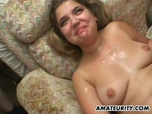 2 amateur Milf share one big cock with cumshot