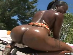 Nyeema fingers her black cunt before jumping on a cock