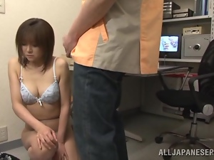 Shy Ai Komori gives hot blowjob to her colleague
