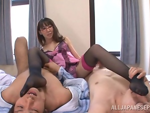 Meisa Chibana gives a rimjob and rides two cocks in hot MMF scene
