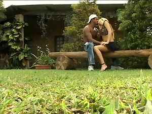 Nasty blonde Bianca enjoys jumping on a hard BBC outdoors
