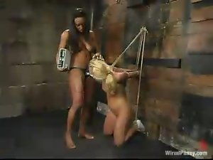 Blonde Aubrey Addams gets humiliated by her ebony mistress