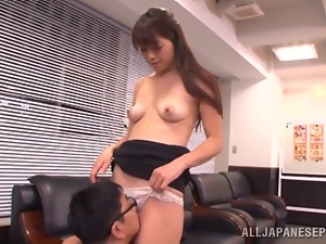 Maki Hokujo sits on her man's face before jumping on his cock