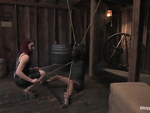 Calico gets bound and fucked hard by Claire Adams in BDSM scene