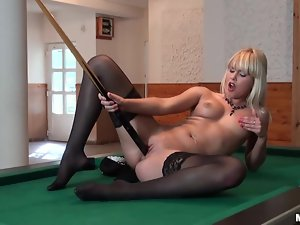 Divine blondie is playing pool naked and so sexcited