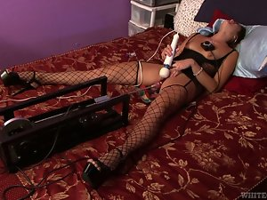 Superb Cece Stone has fun with a dildo and fucking machine