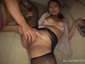 Honey gets banged in the shower after a long workday