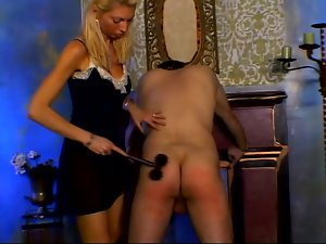 Blonde milf Donna pleases some pain-loving man with spanking