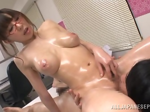 Meisa Chibana massages a cock and fucks the man in cowgirl position