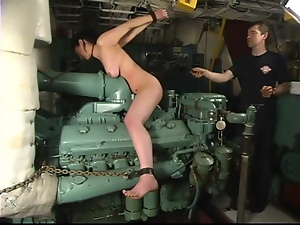 Bella gets tortured on a boat in an engine compartment