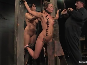 Three hot sluts enjoy being tormented in a basement