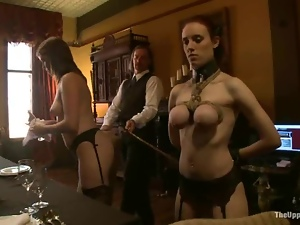 Trio of submissive housemaids serve their holes for their masters