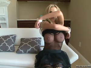 Nikki Benz poses in sexy dress and gets fucked in POV