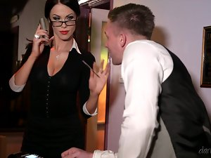 Megan Coxxx the superb MILF gets rammed by a waiter