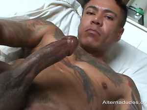 Mexican dude is sweating, jerking off his cock