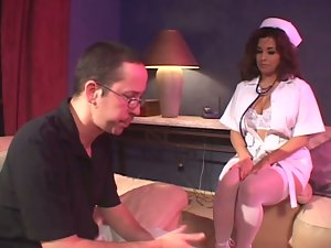 Delicious brunette nurse is curing him with her twat