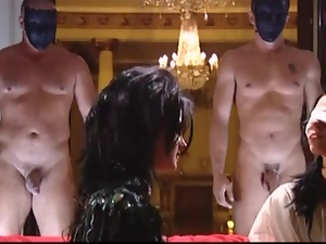 Two stunning brunette girls get fucked by guys in masks