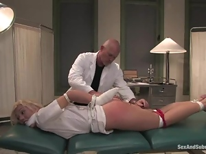 Sexy blonde nurse gets bounded and nailed by a doctor