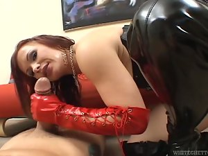 Sexy angel in fetish clothing is riding him anal