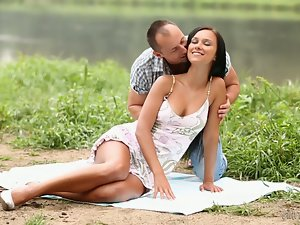 Brunette babe Victoria Sweet B gets stunningly fucked near a pond