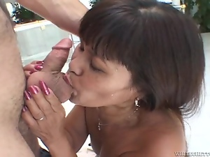 Mature exotic bitch blows and gets her cunt pounded and creampied