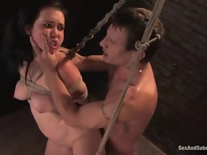 Cherry Ferretti gets bound and fucked by Mr. Pete in a basement