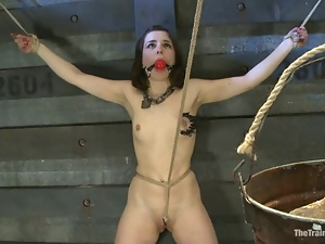 Juliette March gets her ass whipped in a basement and enjoys it