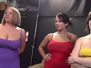 Three slutty girls lick their pussies and get fucked by two men
