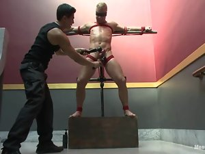 Blindfolded dude doesn't yet know that he is gonna be tortured by a gay