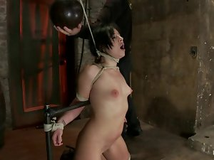 Brunette with a stockings on her head gets tortured