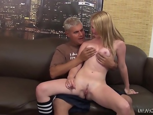 Slutty blonde Maci More enjoys jumping on some horny dude's cock