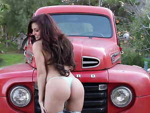 Super hot country girl is stripping off in the old truck