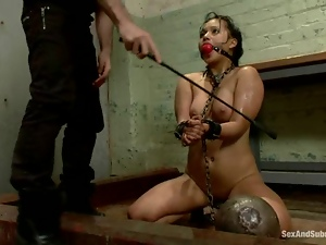 Chained Lana Violet gets toyed and fucked after wax session