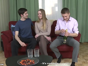 Nasty girl gets fucked and facialed by two lewd dudes