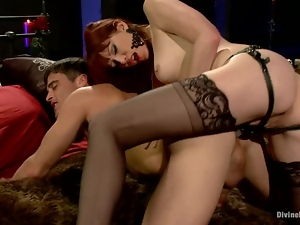 Luxury Maitresse Madeline sits on his face and fucks him with a strapon