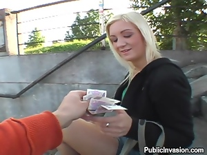 Blonde teen gets picked up and sucks a cock for money