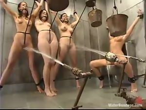 A few kinky bitches get bound and tormented in a jail in BDSM clip