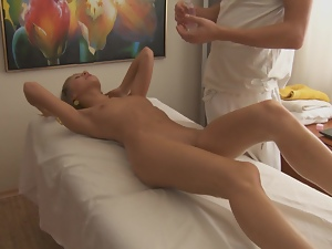 Adorable chick gets her soaking pussy fucked by a masseur
