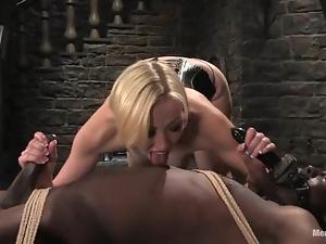 Dazzling Adrianna Nicole tortures and toys a Black guy