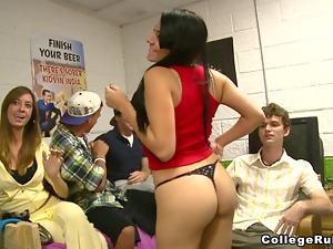 Hot college sex party in the dorms with sexy seniors