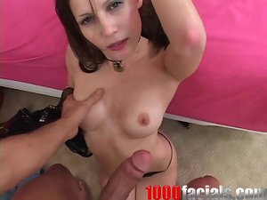Jenni Lee Brunette Sucking and Deepthroating Cock in Blowjob Video