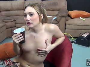 Sexy blond in stockings is getting a whole sex package