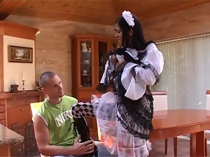 Playful maid seduces her boss and rides his dick