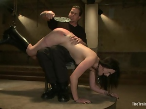 Sophie Monroe gets humiliated and whipped in old building