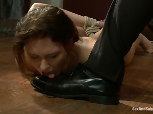Submissive Katie Summers gets tied up and fucked