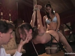 Two submissive brunettes get bounded and fucked